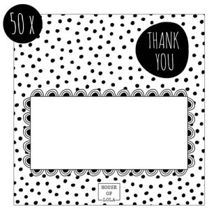 bedankkaartjes | HOUSE OF LOLA | thank you | kader en stippen | 50x