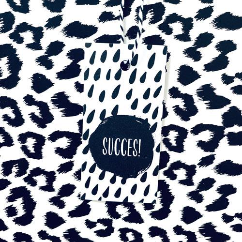 cadeaulabel   succes   zwart-wit