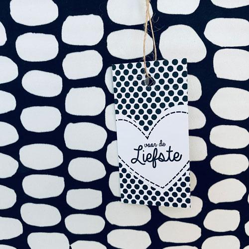 cadeaulabel | voor de liefste | hartje | zwart-wit