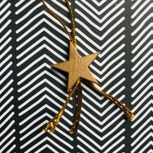 houten hanger | ster | goud