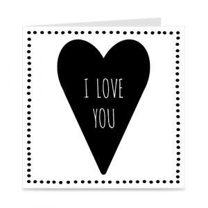 kaartje: I love you, met groot hart