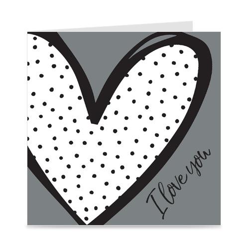kaart   I love you   heart & dots