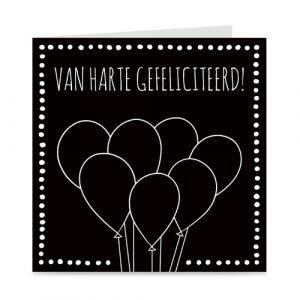 kaartje vol met ballonnen: van harte gefeliciteerd!
