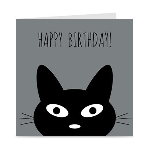 verjaardagskaart met kat: happy birthday!