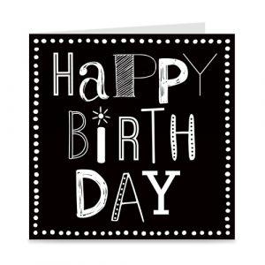 kaart | happy birthday | font party | zwart-wit