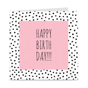 kaart | happy birthday | pink and dots