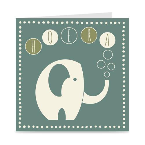 verjaardagskaart met olifant, voor kids