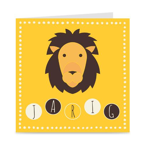 verjaardagskaart met leeuw, voor kids