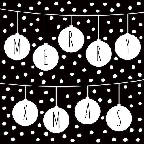 kerstkaart met kerstballen: merry x-mas
