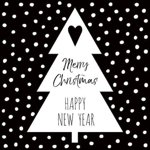 kerstkaart met kerstboom: merry christmas
