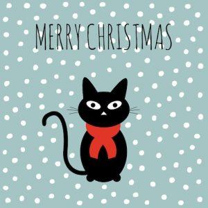kerstkaart met christmas cat