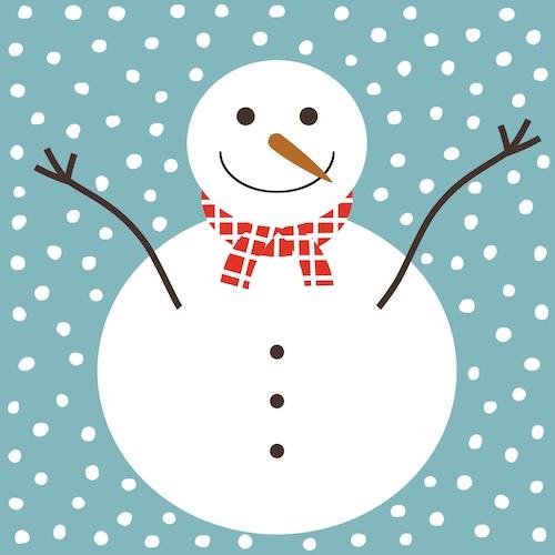 kerstkaart met sneeuwpop