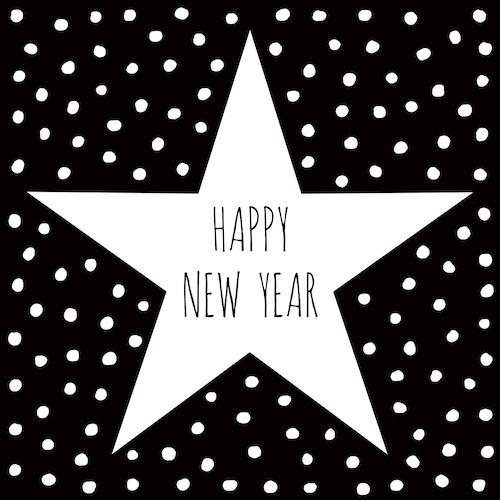 nieuwjaarskaart met ster: happy new year
