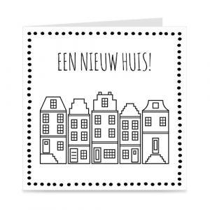 kaart: een nieuw huis, met Amsterdamse huisjes