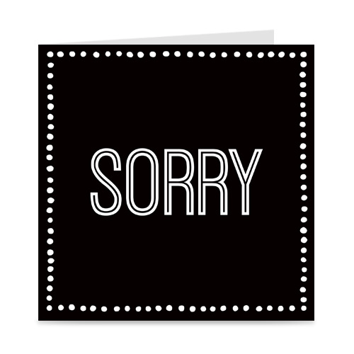 kaartje: sorry