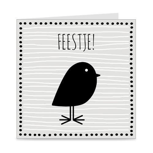 kaart   uitnodiging kinderfeestje   vogeltje