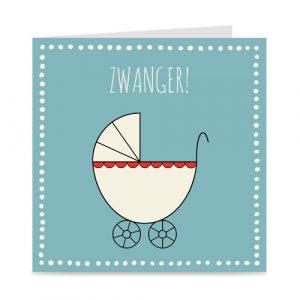 kaart: zwanger, met kinderwagen