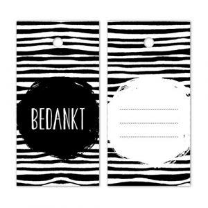 label | bedankt | zwart-wit