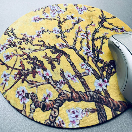 muismat | rond | blossom | yellow