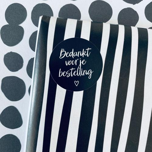 ronde sticker | bedankt voor je bestelling | zwart-wit