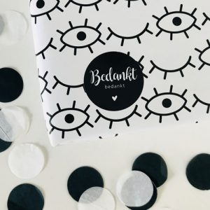 ronde sticker | bedankt | zwart-wit
