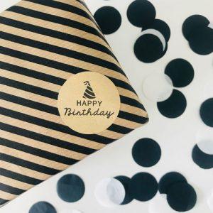 ronde sticker   happy birthday   kraft