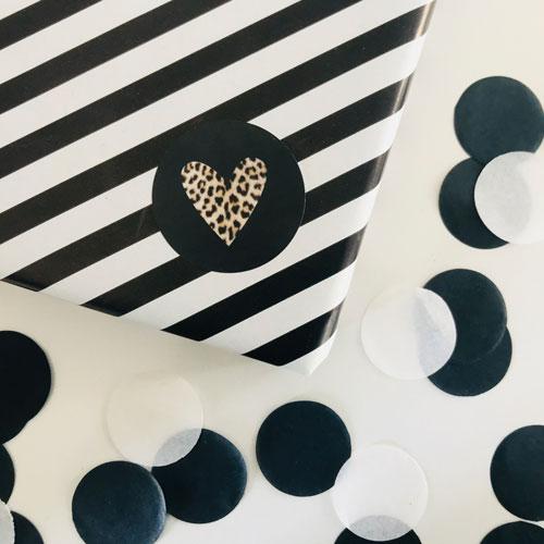ronde sticker | hartje | panterprint