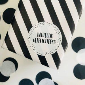 ronde sticker | hartelijk gefeliciteerd | wit