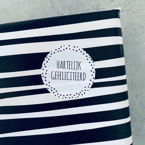 ronde sticker | hartelijk gefeliciteerd | wit-zwart | stippen