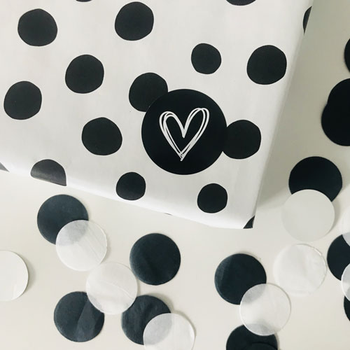 ronde sticker | hartje | droodle | zwart-wit