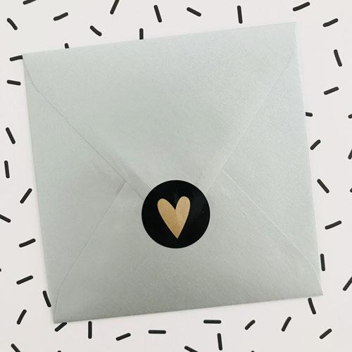 ronde sticker | hartje | zwart/kraft