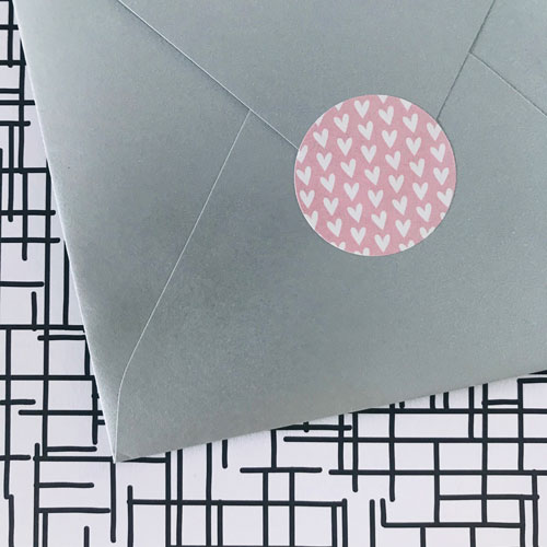 ronde sticker | hartjes | roze-wit