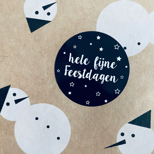 ronde sticker | hele fijne feestdagen | zwart-wit
