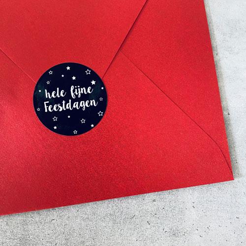 ronde sticker | hele fijne feestdagen