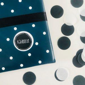 ronde sticker | kadootje | zwart-wit | rand