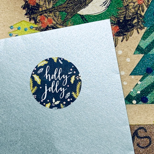ronde sticker   kerst   holly jolly