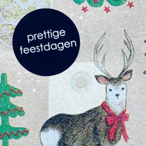 ronde sticker | kerst | prettige feestdagen | zwart-wit
