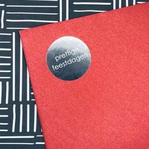 ronde sticker | prettige feestdagen | zilver-wit