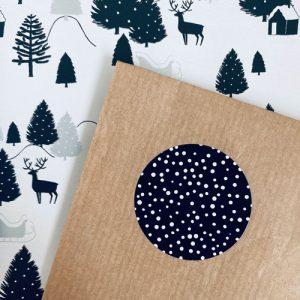 ronde sticker | sneeuw