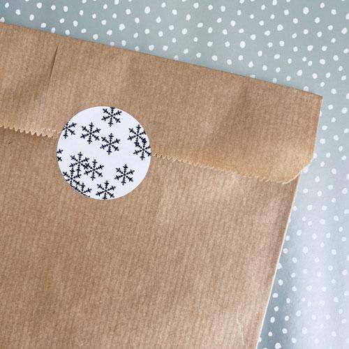 ronde sticker | sneeuwvlokken