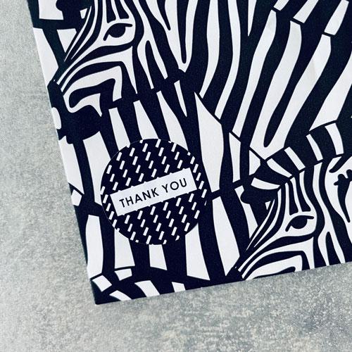 ronde sticker | thank you | zwart-wit | 25mm