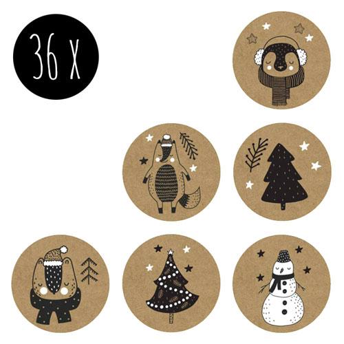 set stickers   kerst   kraft   36x