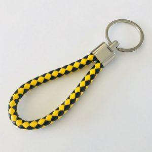 sleutelhanger | kunstleer | zwart-geel