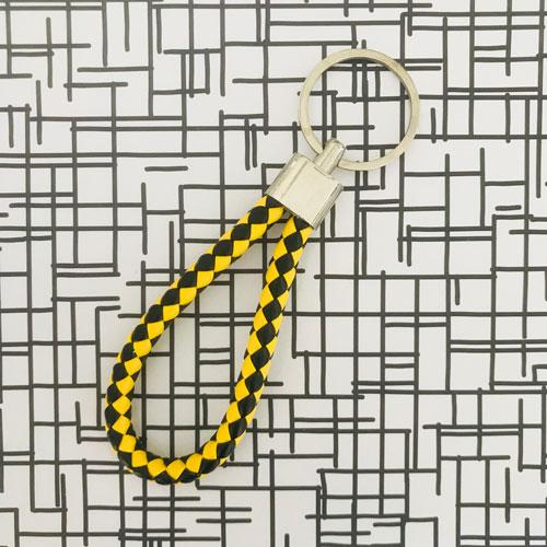 sleutelhanger | zwart-geel | kunstleer