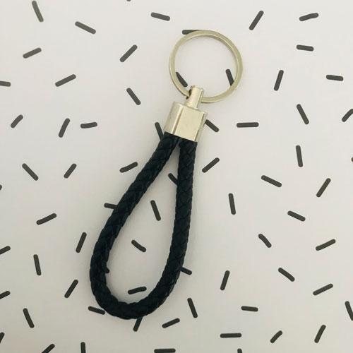 sleutelhanger | zwart | kunstleer
