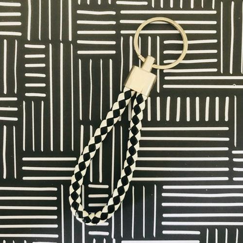 sleutelhanger | zwart-wit | kunstleer