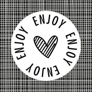 sticker | enjoy | hartje | wit-zwart