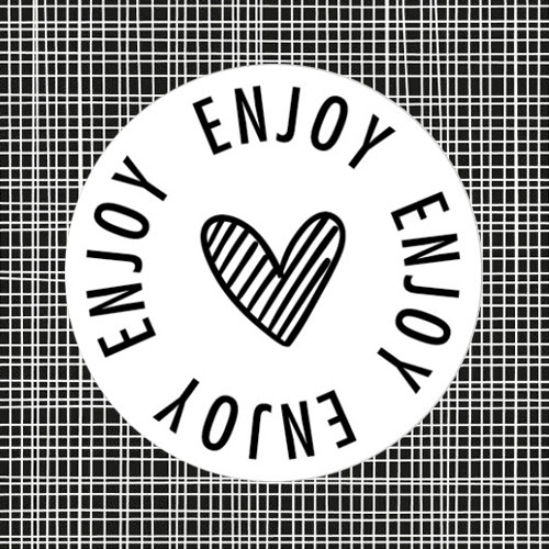 sticker | enjoy | hartje | wit-zwart