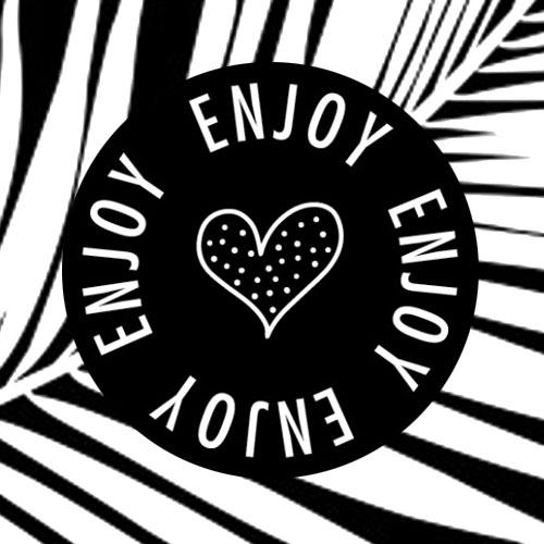 sticker | enjoy | hartje | zwart-wit