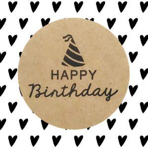 sticker | happy birthday | kraft